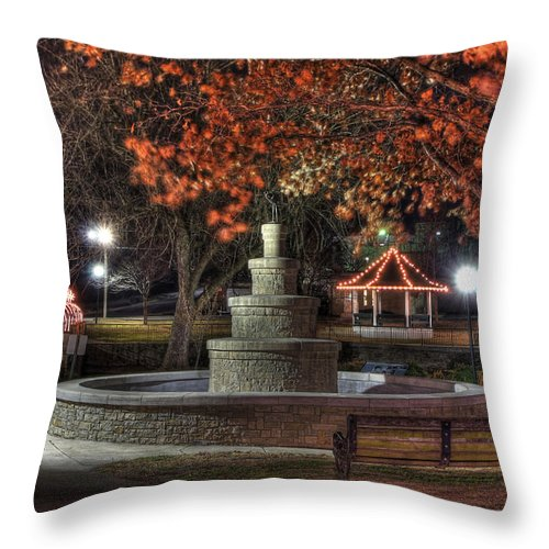 Park Throw Pillow featuring the photograph Park Bench by Tony Colvin