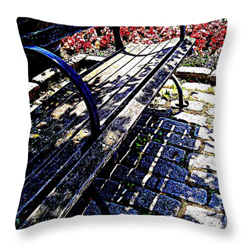Throw Pillow featuring the photograph Park Bench With Flowers by Miriam Danar