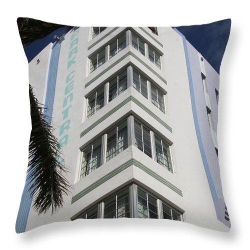 Park Central Building Throw Pillow featuring the photograph Park Central Building - Miami by Christiane Schulze Art And Photography