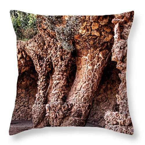 Park Guell Throw Pillow featuring the photograph Park Guell Colonnade No1 Unframed by Weston Westmoreland