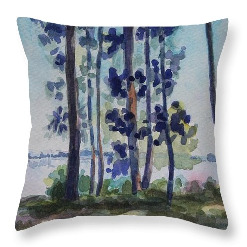 Nature Throw Pillow featuring the painting Park on Harvard Two by Jan Bennicoff
