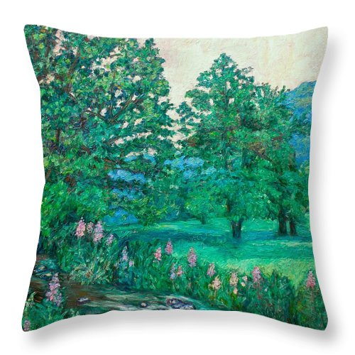 Landscape Throw Pillow featuring the painting Park Road In Radford by Kendall Kessler