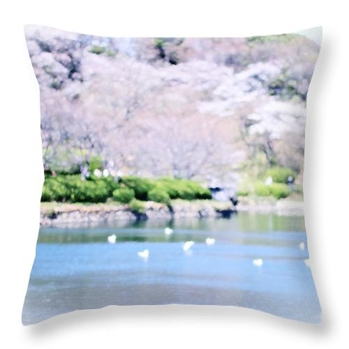 Mitsuike-koen Throw Pillow featuring the digital art Park With Pond And Cherry Blossoms In Spring by Beverly Claire Kaiya