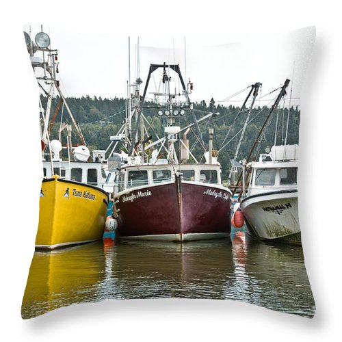 Throw Pillow featuring the photograph Parked Fishing Boats by Cheryl Baxter