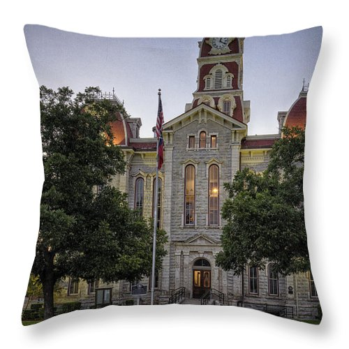 Weatherford Throw Pillow featuring the photograph Parker County Courthouse by Joan Carroll