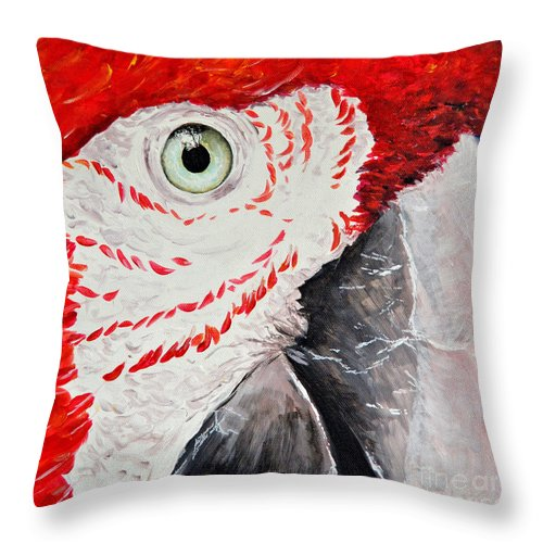 Island Throw Pillow featuring the painting Parrot by Paola Correa de Albury
