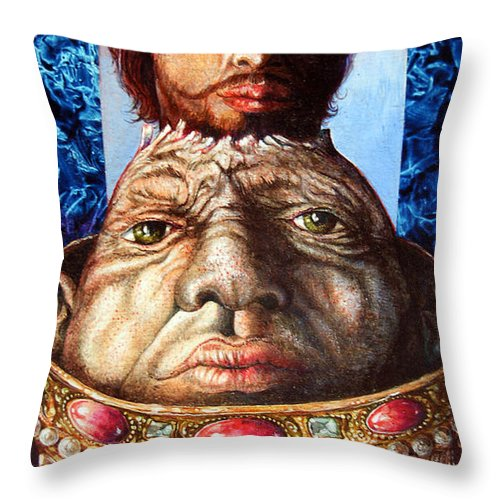Surrealism Throw Pillow featuring the painting Parthenogenesis II by Otto Rapp
