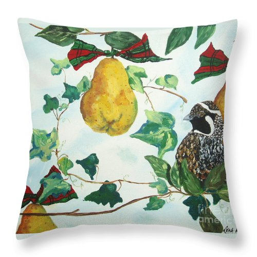 Tree Throw Pillow featuring the painting Partridge And Pears by Reina Resto