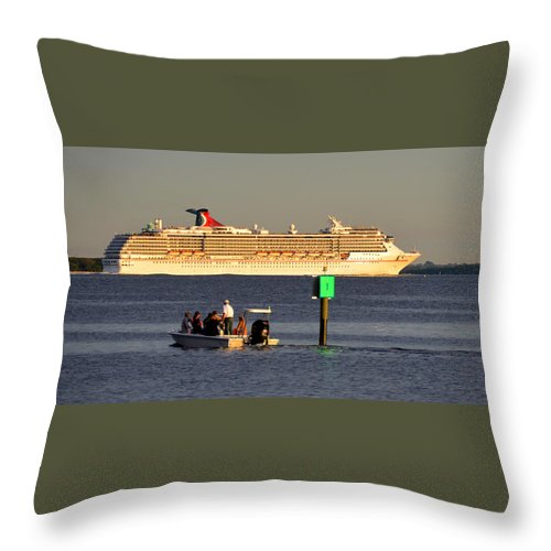 Cruise Ship Throw Pillow featuring the photograph Party Boats by David Lee Thompson