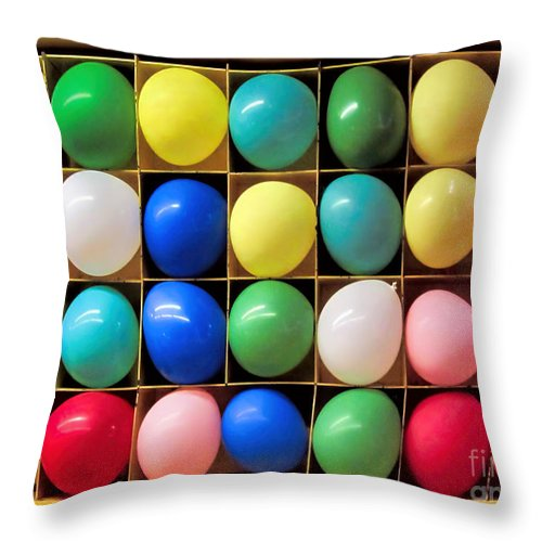 Balloon Throw Pillow featuring the photograph Party In A Box by Jennie Breeze