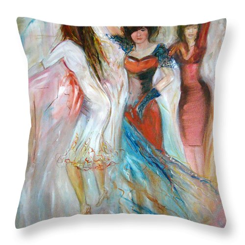 Contemporary Art Throw Pillow featuring the painting Party Time by Silvana Abel