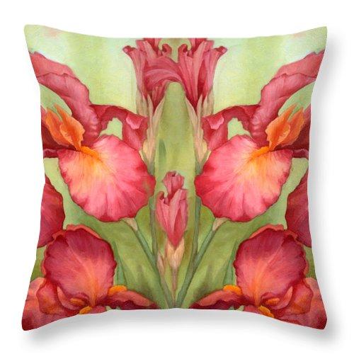 Iris Throw Pillow featuring the mixed media Pas De Deux Des Iris by Georgiana Romanovna