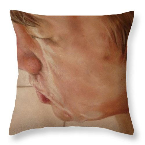 Portrait Throw Pillow featuring the painting Pasar La Toalla by Cherise Foster