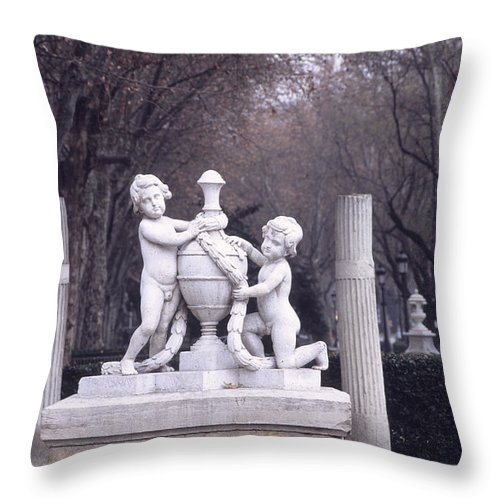 Spain Throw Pillow featuring the photograph Paseo Del Prado In Winter Madrid by James Brunker