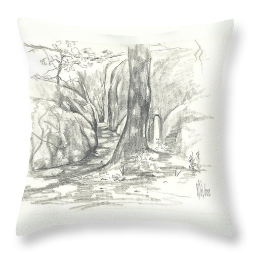 Passageway At Elephant Rocks Throw Pillow featuring the drawing Passageway At Elephant Rocks by Kip DeVore
