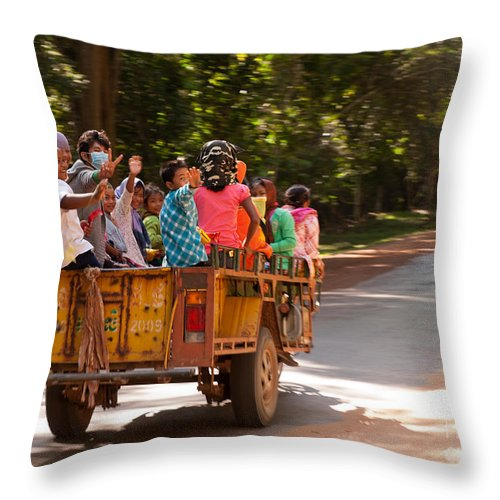 Cambodia Throw Pillow featuring the photograph Passengers by Rick Piper Photography