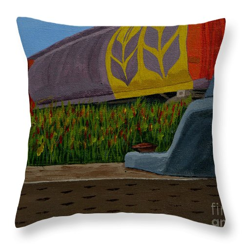 Train Throw Pillow featuring the painting Passing The Wild Ones by Anthony Dunphy