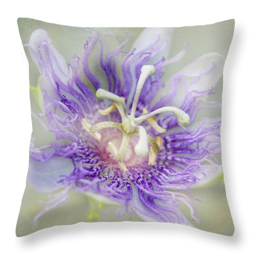 Passion Flower Throw Pillow featuring the photograph Passion Flower by Judy Hall-Folde