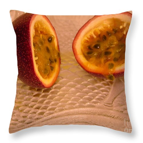 Photography Throw Pillow featuring the photograph Passion Fruit On Fish Plate 11-3-13 by Julianne Felton