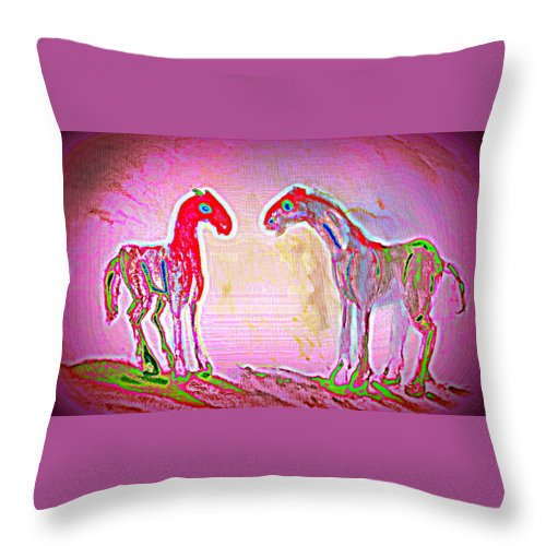 Horse Throw Pillow featuring the painting They Think We Have A Passion For Pink But We Just Have A Passion by Hilde Widerberg