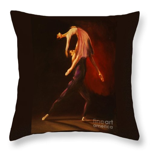 Ballet Throw Pillow featuring the painting Passion by Nancy Bradley