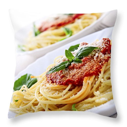 Pasta Throw Pillow featuring the photograph Pasta And Tomato Sauce by Elena Elisseeva