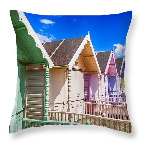 Beach Huts Canvas Throw Pillow featuring the photograph Pastel Beach Huts 3 by Chris Thaxter
