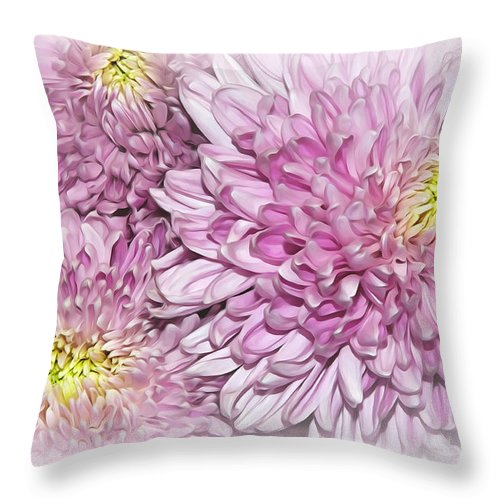 Photography Throw Pillow featuring the photograph Pastel Pink Mums by Kaye Menner