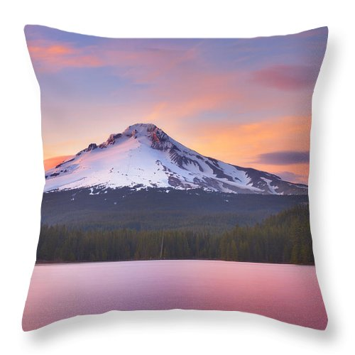 Trillium Lake Throw Pillow featuring the photograph Pastel Sunset by Darren White