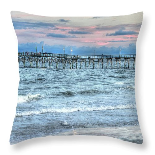 Fishing Pier Throw Pillow featuring the photograph Tranquility by Don Mennig