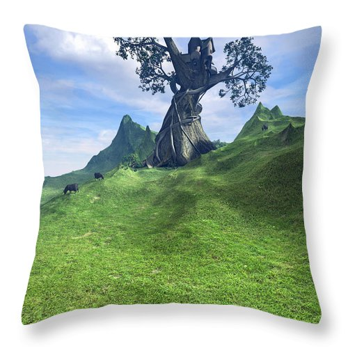 Grass Throw Pillow featuring the digital art Pasture by Cynthia Decker