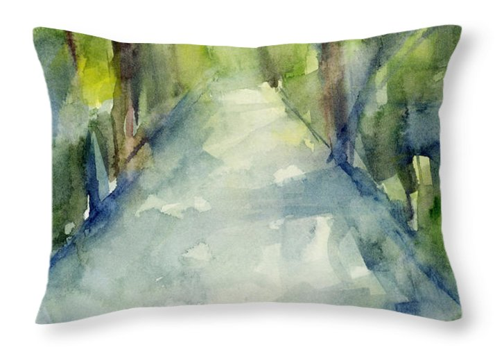 Garden Throw Pillow featuring the painting Path Conservatory Garden Central Park Watercolor Painting by Beverly Brown