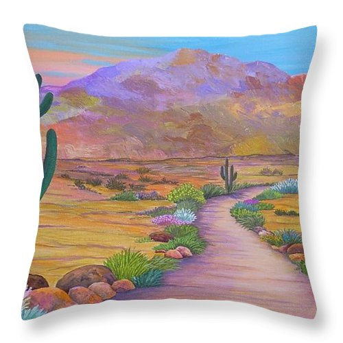 Southwest Throw Pillow featuring the painting Path To McDowell Mtn. Phoenix Arizona by Carol Sabo