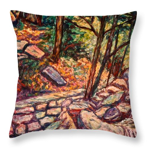 Landscape Throw Pillow featuring the painting Path To The Cascades by Kendall Kessler