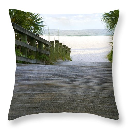 Alone Throw Pillow featuring the photograph Path To The Empty Beach by SAJE Photography
