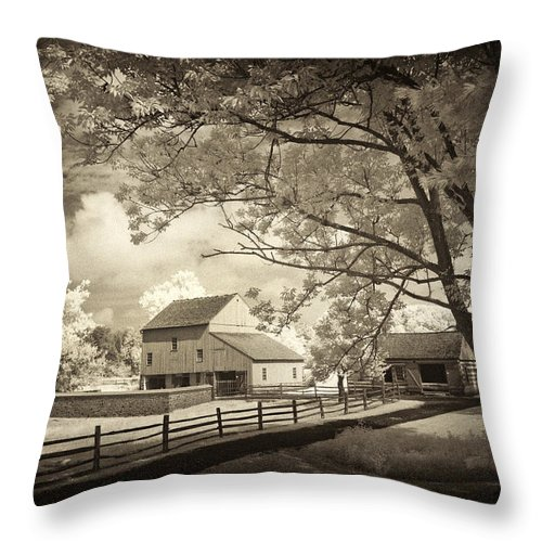 Barn Throw Pillow featuring the photograph Path To The Old Barn by Paul W Faust - Impressions of Light
