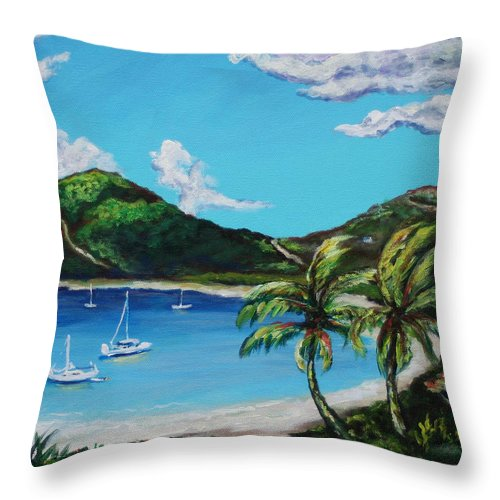 Eve Wheeler Throw Pillow featuring the painting Path To White Bay by Eve Wheeler