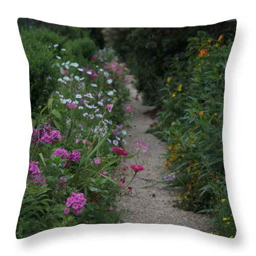 Pathway Image Throw Pillow featuring the photograph Pathway Of Monet's Garden by Anita Miller
