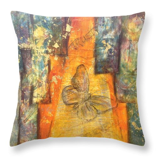 Abstract Throw Pillow featuring the mixed media Pathway To Trust by Pat Butera