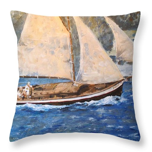 Seascape Throw Pillow featuring the painting Patriot At Catalina Lighthouse by Alan Lakin