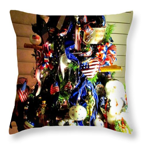 Patriotic Christmas Lights.Patriotic Christmas Tree Throw Pillow