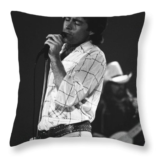 Paul Rodgers Throw Pillow featuring the photograph Paul And Boz 1977 by Ben Upham