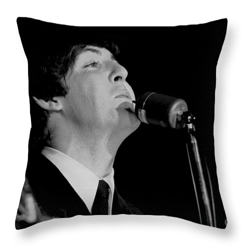 Beatles Throw Pillow featuring the photograph Paul Mccartney, Beatles Concert, 1964 by Larry Mulvehill