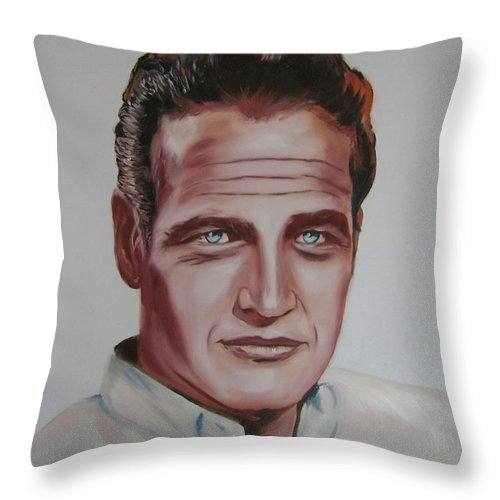 Portrait Throw Pillow featuring the painting Paul Newman by Richard Garnham
