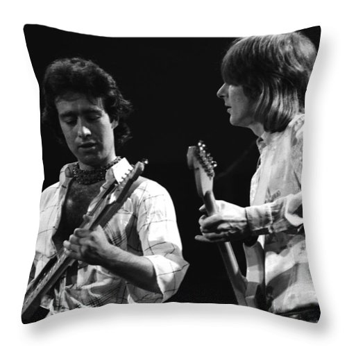 Paul Rodgers Throw Pillow featuring the photograph Paul And Mick In Spokane 1977 by Ben Upham