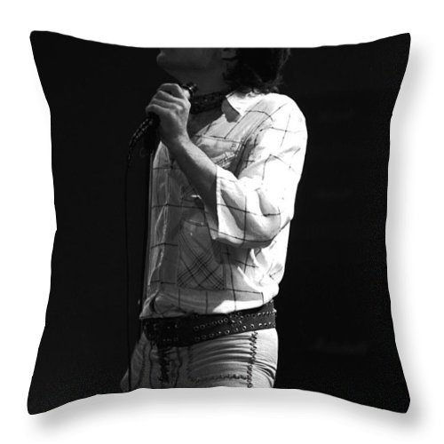 Paul Rodgers Throw Pillow featuring the photograph Paul Feeling The Good Vibes In Spokane 1977 by Ben Upham