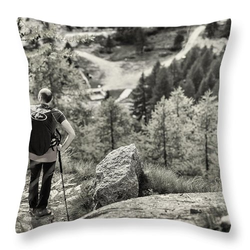 Valsavaranche Throw Pillow featuring the photograph Pause After Climbing by Alfio Finocchiaro