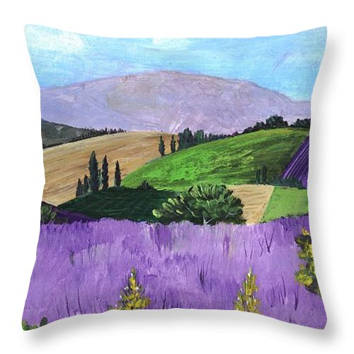Malakhova Throw Pillow featuring the painting Pays De Sault by Anastasiya Malakhova