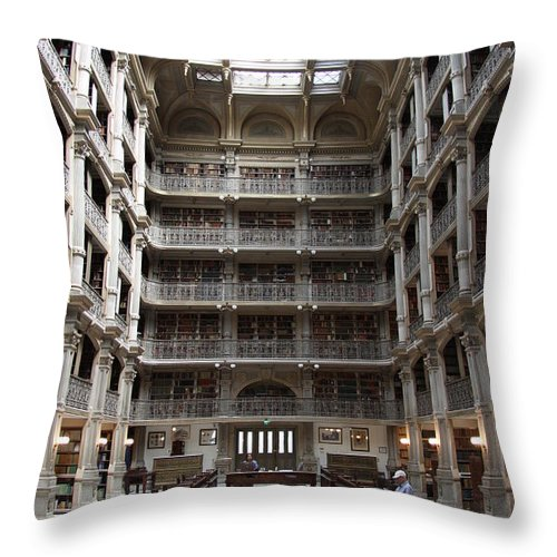 Library Throw Pillow featuring the photograph Peabody Library Baltimore by Christiane Schulze Art And Photography
