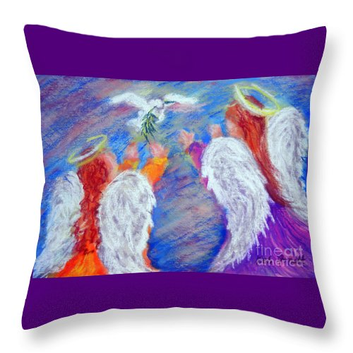 Angel Throw Pillow featuring the pastel Peace Angels by Deb Arndt